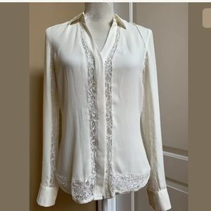 CACHE Blouse Ivory Sz S Button Up long sleeves
